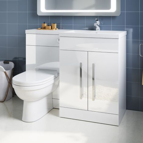ELEGANT 1100mm Right Hand High Gloss White Vanity Unit & Back to Wall Toilet Unit with Ceramic Toilet & Basin