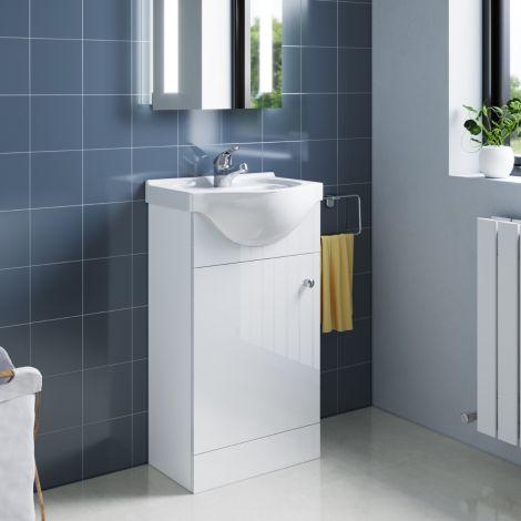 ELEGANT Premium Quality Vanity Sink Unit with Ceramic Basin, High Gloss White Vanity unit supplied, Bathroom Storage Furniture,425mm
