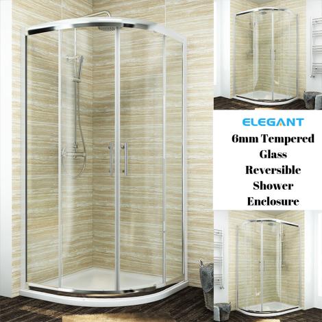 ELEGANT 1000X800mm Offset  Shower Enclosure 6mm Tempered Glass - Reversible Left/Right