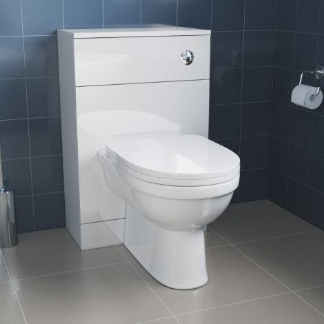 Elegant Slimline Gloss White Back To Wall Toilet Unit (500×252×770mm )