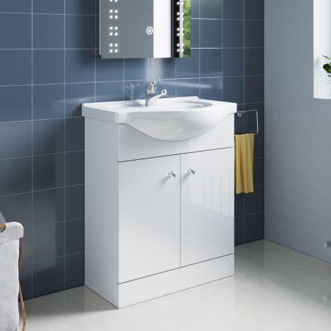 ELEGANT Premium Quality Vanity Sink Unit with Ceramic Basin, High Gloss White Vanity unit supplied, Bathroom Storage Furniture,600mm
