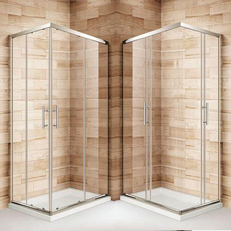 ELEGANT 900 x 760mm Framed Corner Entry - 6mm - Sliding Shower Enclosure Set