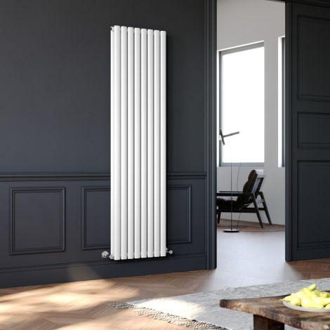 Elegant 1800x480mm White Oval Double Panel Designer Radiator Vertical Radiator