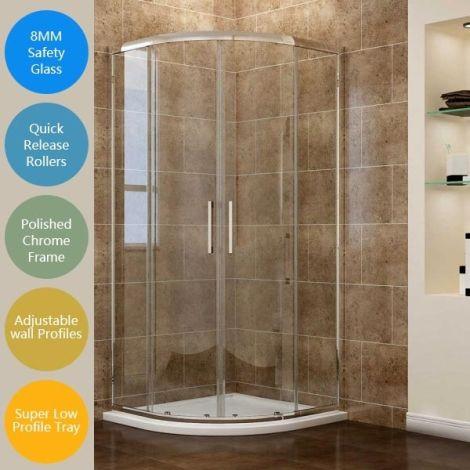 ELEGANT Offset/Quadrant - 8mm Easy Clean Glass Shower Enclosure Set
