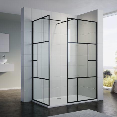 ELEGANT Custom Size Walk in Shower Enclosure 8mm Tempered Glass Black Framed Panel