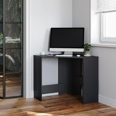 ELEGANT Computer Corner Desk Black Home Office Student Working Writing PC Table