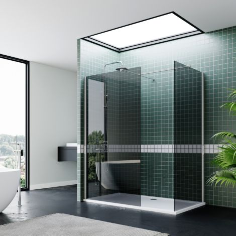 ELEGANT 1100mm Walk In Shower Cubicle Shower Enclosure 8mm Easy Clean Glass