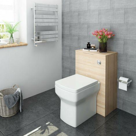 Elegant  OAK-Color Back To Wall Square Toilet Unit (500×252×770mm )