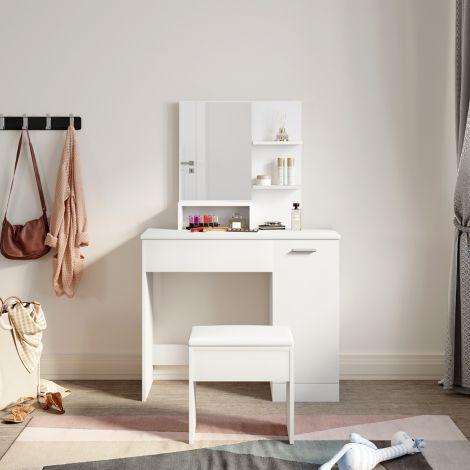 ELEGANT White Dressing Table Vanity Set Makeup Table Vanity Desk Large Frameless Mirror with Makeup Stool