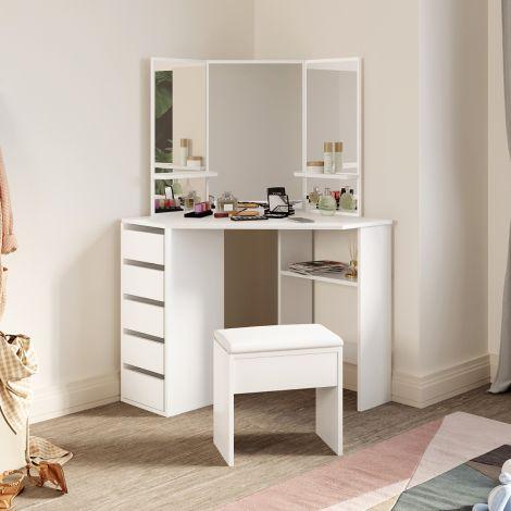 ELEGANT White Corner  Dressing Table Vanity Set Makeup Table Vanity Desk Large Frameless Mirror with Makeup Stool