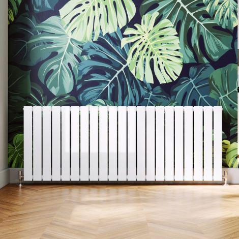 ELEGANT 600 x 1596mm White Single Flat Panel Horizontal Designer Column Radiators
