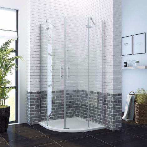 ELEGANT 800X800mm Frameless Quadrant  6mm Hinged Shower Enclosure