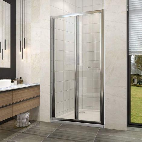 ELEGANT 900mm Bifold Shower Enclosure Cubicle Glass Door
