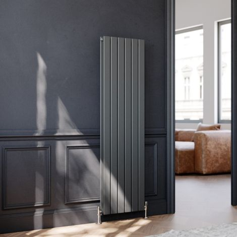 ELEGANT 1600 x452mm Vertical Column Designer Double Anthracite Flat Panel Column Grey Radiator