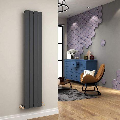 ELEGANT 1600 x300mm Vertical Designer Anthracite Single Double  Radiator Column Tall Upright Central Heating Radiators