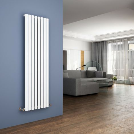 Elegant 1600x480mm White Oval Single Panel Designer Radiator Vertical Radiator