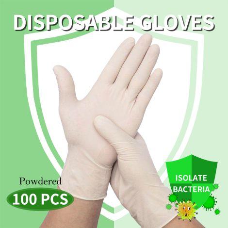 Elegant (Medium) 100Pcs Disposable Gloves Powdered Protection