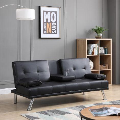 ELEGANT Black Color Folding Sofa Bed with Pillow and Beverage Bottle Rack