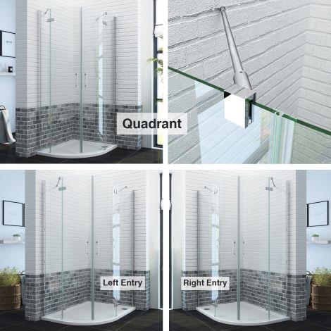 ELEGANT Frameless Hinged Quadrant Shower Enclosure Door Cubicle Tray Waste