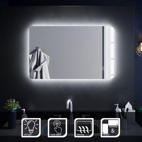 ELEGANT 800 X 500mm Anti - Fog Bathroom LED Illuminated Mirror Vertical Horizontal Touch Control Wall Hung