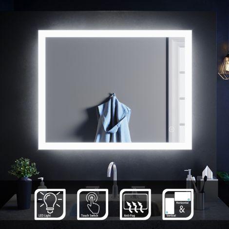 ELEGANT 900x700mm Touch Anti-Fog Illuminated LED Bathroom Demister Mirror (Horizontal/Vertical)