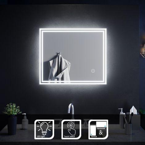 ELEGANT 600 X 500mm Touch IP4 Illuminated LED Bathroom Mirror (Horizontal/Vertical)