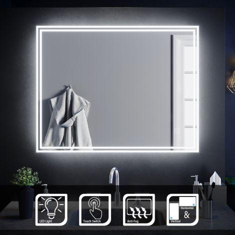 ELEGANT 900 X 700mm Bathroom Led Mirror Anti-Fog Demisted Illuminated Mirror (Horizontal/Vertical)