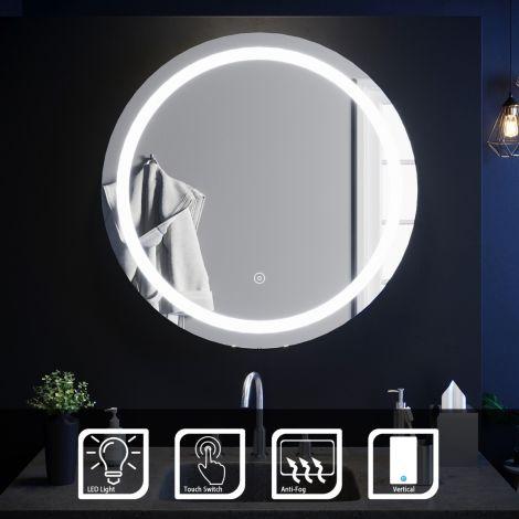Elegant 800x800mm Touch Anti-Fog Round LED Bathroom Mirror With Demister