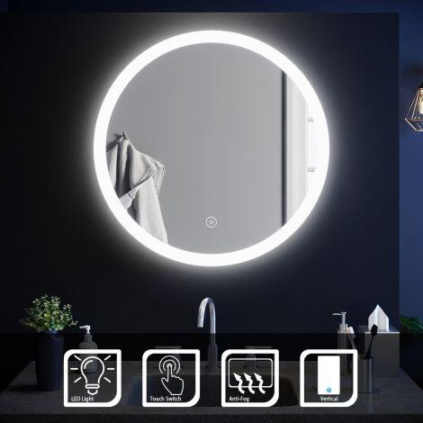 Elegant 600x600mm Anti-Fog Touch LED Bathroom Mirror With Demister