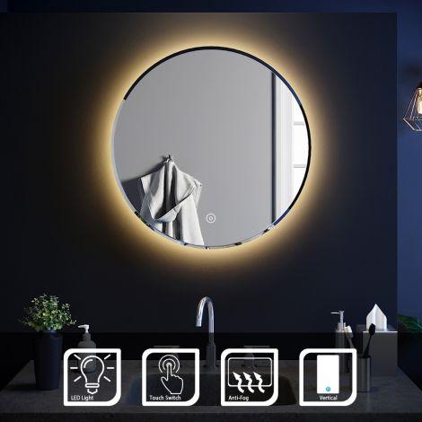 Elegant 600x600 Anti-Fog Touch Smart Round LED Bathroom Mirror