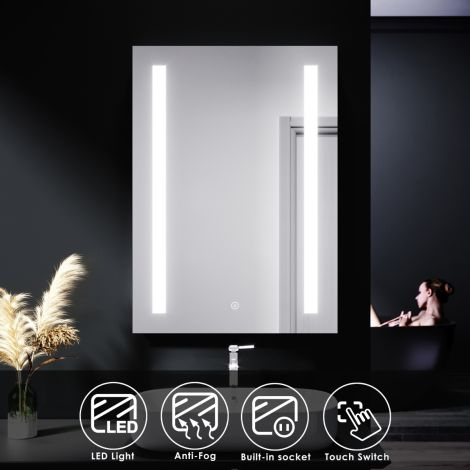 ELEGANT 500 X 700 Illuminated LED Anti-Fog Demister Bathroom Mirror