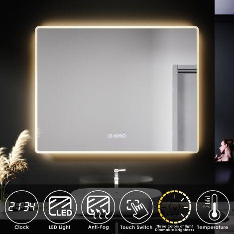 ELEGANT 900X700mm Bathroom LED Illuminated Mirror with Anti-fog Touch Bottom & Time Display