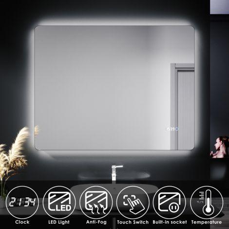 ELEGANT 900 X 700mm  Touch Illuminated Bathroom LED Mirror - Time display