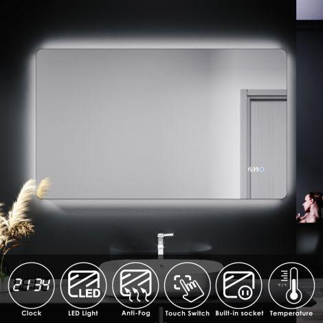ELEGANT 1000 X 600mm Touch Shaving Socket Illuminated Bathroom LED Mirror - Time display