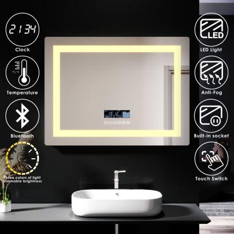 ELEGANT 800X600mm Bathroom LED Illuminated Mirror with Anti-fog Touch Bluetooth Shaver Socket Time