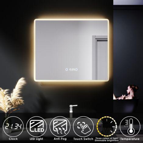 ELEGANT 600X500mm Bathroom LED Illuminated Mirror with Anti-fog Touch Bottom & Time Display