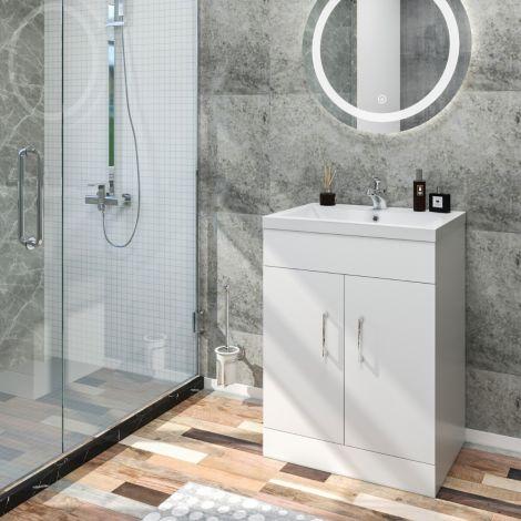ELEGANT Premium Quality Vanity Sink Unit with Ceramic Basin, High Gloss White Vanity unit supplied, Bathroom Storage Furniture,515mm