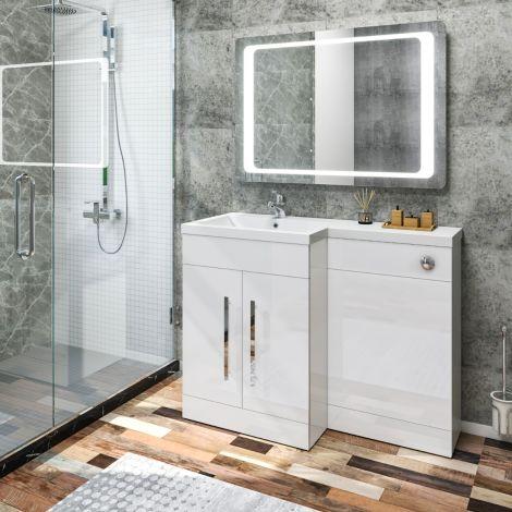 Elegant Left Bathroom Vanity Basin Vanity Sink Unit High Gloss  White 1100x840x450mm