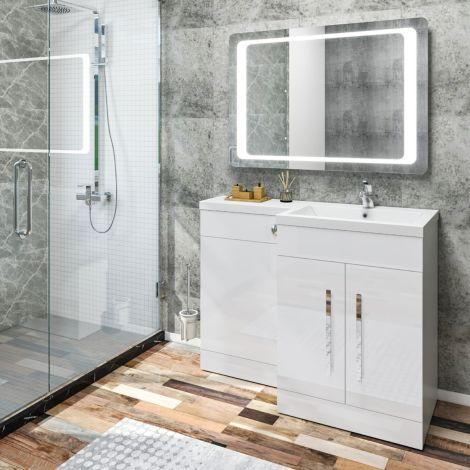 Elegant Right Bathroom Vanity Basin Vanity Sink Unit High Gloss  White 1100x840x450mm