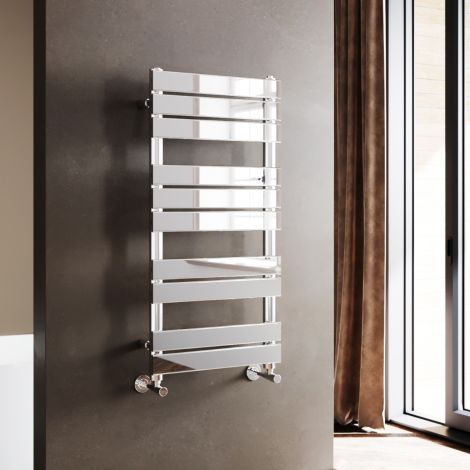 ELEGANT 1000x500mm Chrome Heated Bathroom Flat Panel Towel Rail Radiator