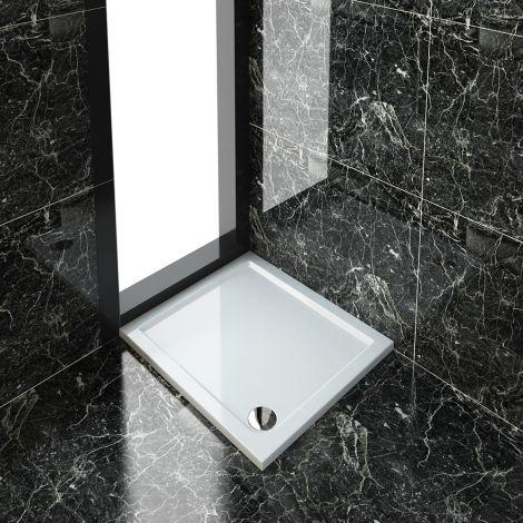 ELEGANT 900x800mm Ultra-Slim Stone Resin Rectangle Shower Tray + 90mm Waste