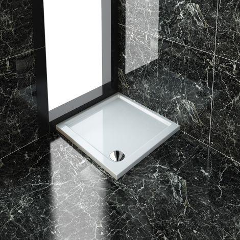 ELEGANT 760x760mm Ultra - Slim Low Profile Stone Resin Shower Tray + 90mm Fast Flow Waste