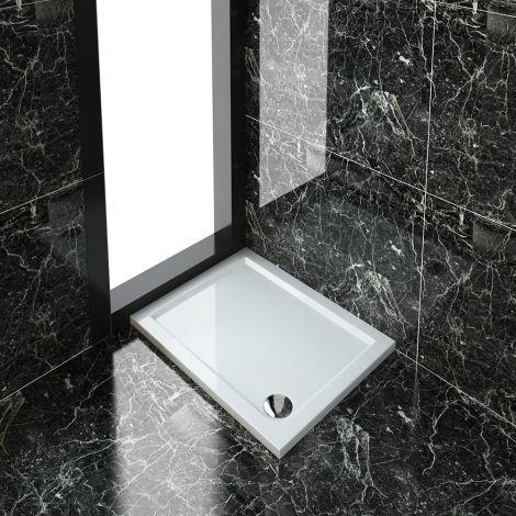 ELEGANT 900x700mm Ultra-Slim Stone Resin Rectangular Shower Tray + 90mm Waste