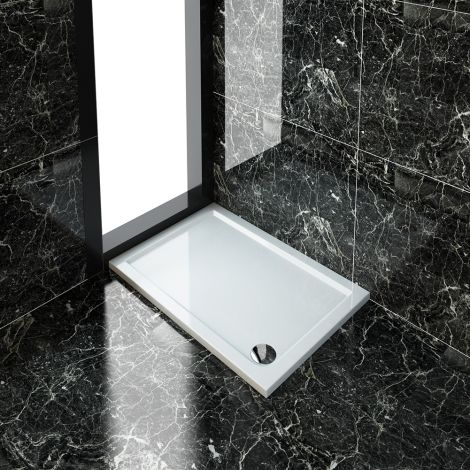 ELEGANT 1100x800mm Ultra-Slim Stone Resin Rectangle Shower Tray + 90mm Waste
