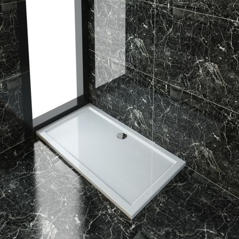 ELEGANT 1400x760x40mm Ultra- Slim Stone Resin Rectangle Shower Tray + 90mm Waste