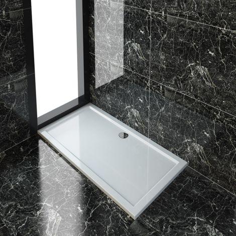 ELEGANT 1500x800x40mm Ultra- Slim Stone Resin Rectangle Shower Tray + 90mm Waste