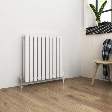 ELEGANT Double Flat Panel 600 x 590mm Modern Design White Heated Rails Radiators