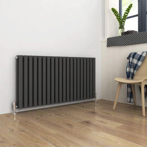 ELEGANT Double Flat Panel 600 x 1190mm Modern Design Anthracite Heated Rails Radiators