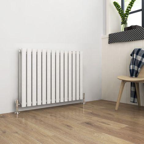 ELEGANT Double Flat Panel 600 x 830mm Modern Design White Heated Rails Radiators