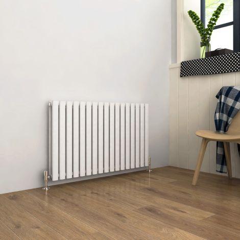 ELEGANT Double Flat Panel 600 x 1003mm Modern Design White Heated Rails Radiators